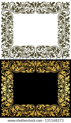 Floral frame in retro style with flourish elements and embellishments. Jpeg (bitmap) version also available in gallery - stock vector