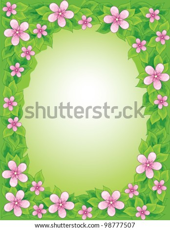 Floral frame, vector illustration - stock vector