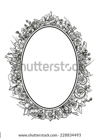 Floral frame with a very detailed botanical theme - stock vector