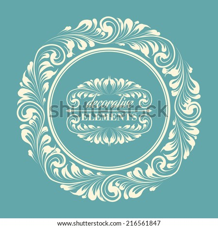 Floral frame with decorative elements. Vector illustration. - stock vector