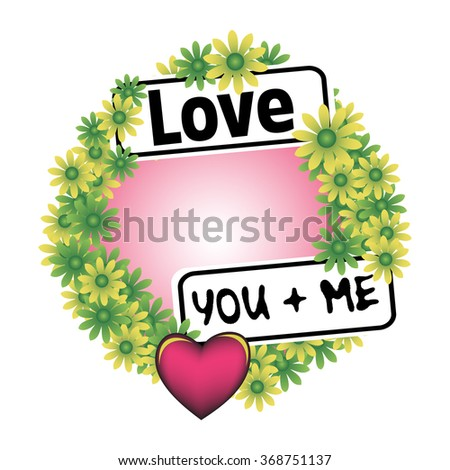 Floral frame with heart and two plates with the text love and you and me - stock vector