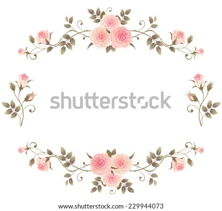 Floral frame with pink roses isolated on a white background. Vector design climbing roses elements. Beautiful floral vignettes. - stock vector