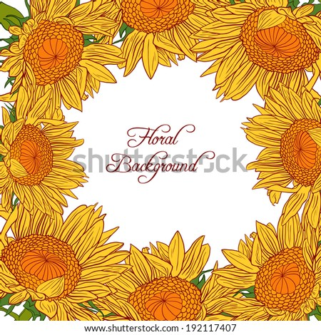 floral frame with sunflowers, flowers composition, hand drawn vector illustration - stock vector