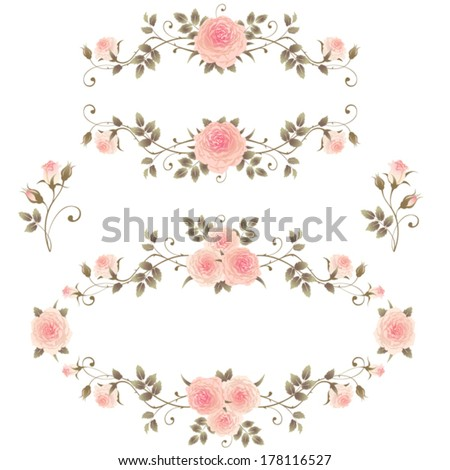 Floral frames with pink roses isolated on a white background. Set of design elements with climbing roses. Beautiful floral vignettes. - stock vector
