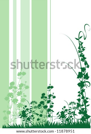 Floral Green print - stock vector