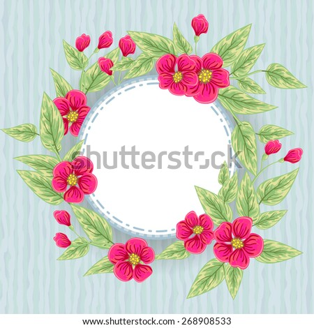 Floral greeting card with pink flowers over abstract blue background - stock vector