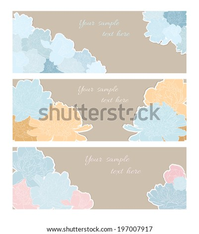 Floral Greeting Cards or Invitations With  Peony Flowers  - stock vector