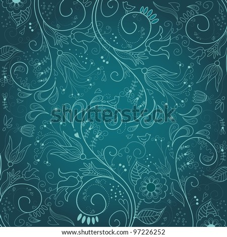 Floral hand drawn background - stock vector