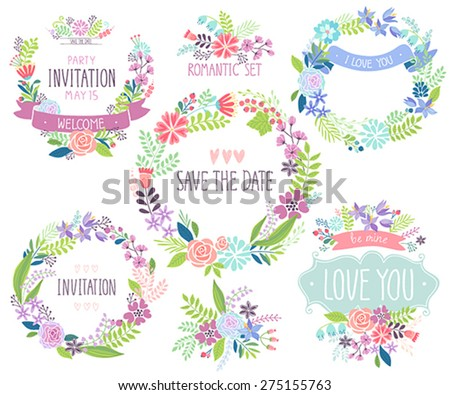 Floral hand drawn card set. Vector illustration. - stock vector