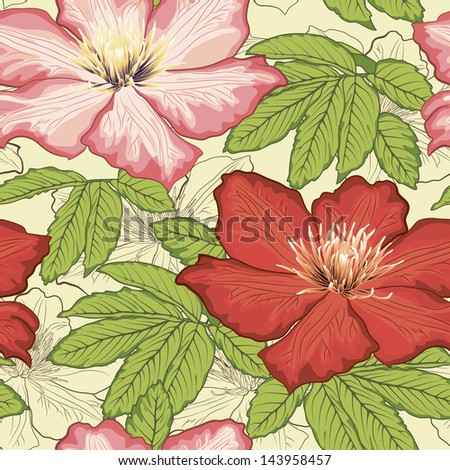 Floral hand-drawn  pattern, detailed - stock vector