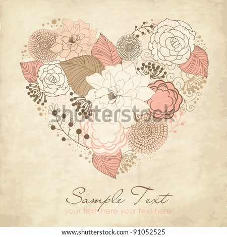 Floral Heart - stock vector