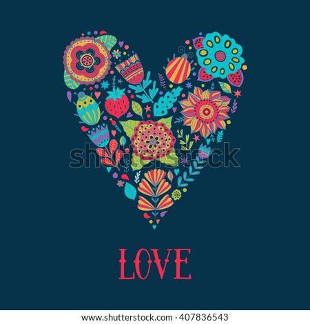Floral heart. Heart made of flowers. Doodle Heart. Valentines day card, herbs and flowers doodles. - stock vector