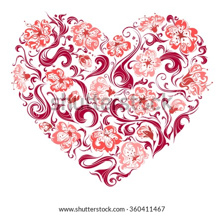 Floral heart. Heart of ornate flowers and swirls isolated on white background. For your Valentine'��s or wedding design.  - stock vector