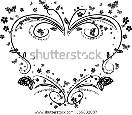 floral heart isolated illustration - stock vector