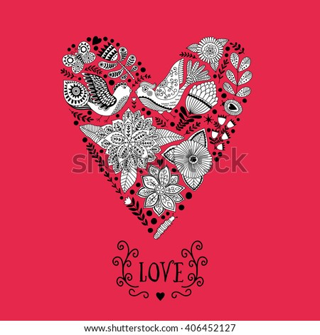 Floral heart made of flowers. Doodle Heart. Valentines day card, herbs and flowers doodles. Valentine s day template greeting card. Flowers in heart shape. - stock vector