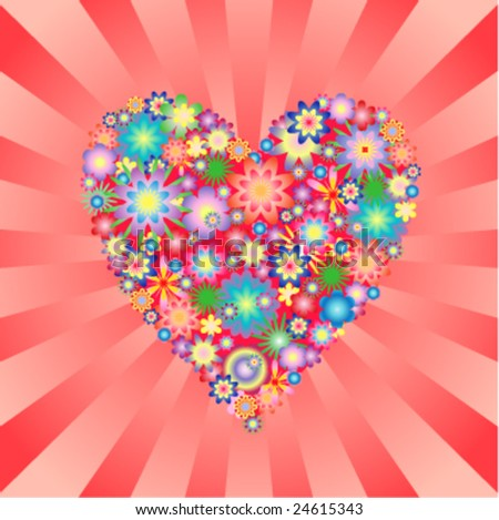 Floral heart on burst background - stock vector