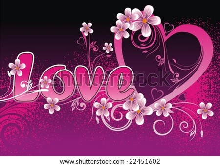 Floral heart shape - stock vector