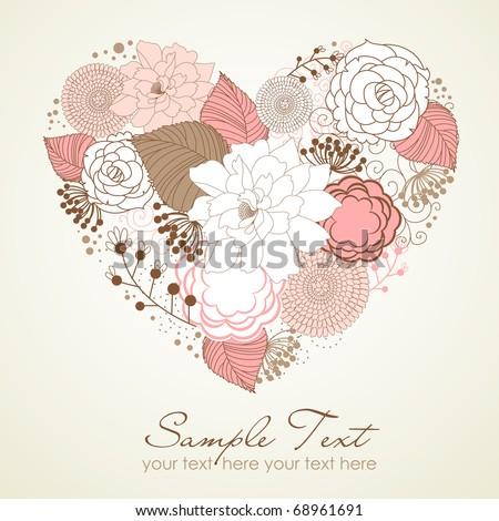 Floral heart shape - stock vector