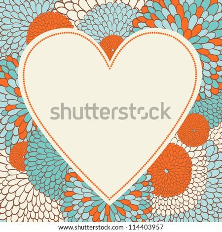 Floral heart shape. Frame. - stock vector