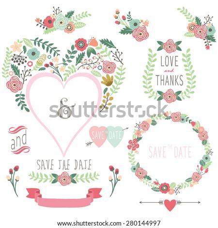 Floral Heart Shape Invitation - stock vector