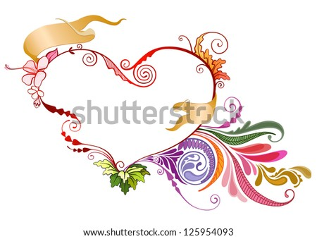 Floral heart vector illustration ideal for valentines and other special occasion concept in EPS 10 format - stock vector