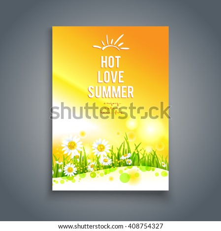 Floral hot summer card. Nature template for design banner,ticket, leaflet, card, poster and so on. - stock vector