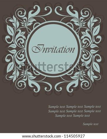 Floral invitation card - stock vector