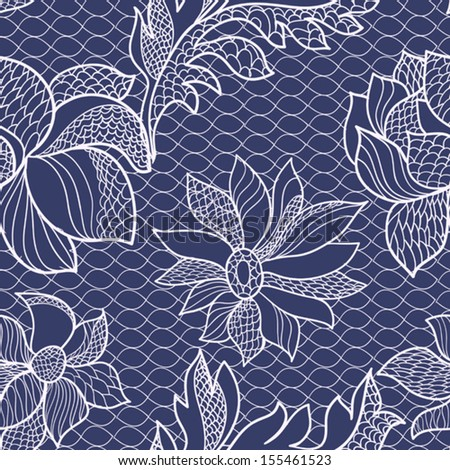 floral lace seamless background - stock vector