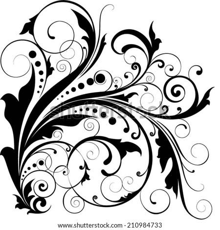 Floral leaf dot swirl design - stock vector
