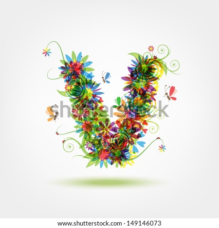 Floral letter for your design - stock vector