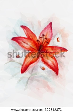 Floral Low Poly Pattern, Bouquet with Red Lily. Vector - stock vector