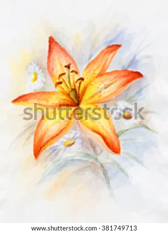 Floral Low Poly Polygonal Colorful Pattern with Lily. Vector - stock vector