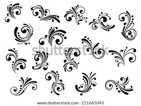 Floral motifs and design elements in swirl damask style isolated on white - stock vector