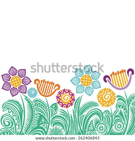Floral nature pattern background vector illustration - stock vector