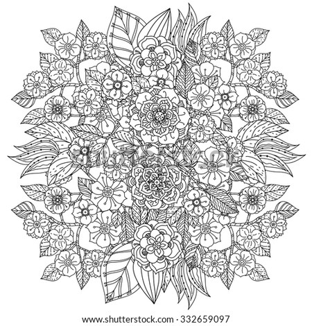 Floral ornament. Art mandala style.  Black and white background. Could be use  for coloring book  in zentangle style.  - stock vector