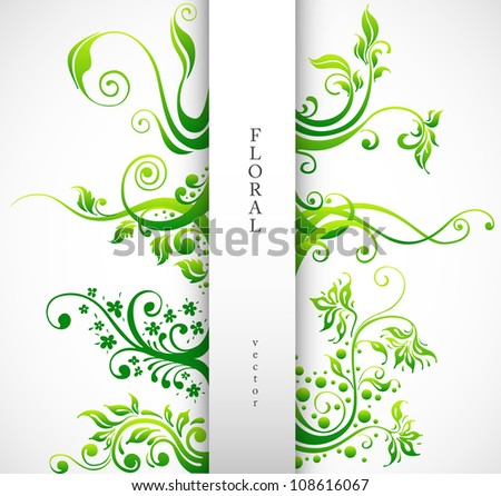 Floral Ornament Vector Design Elements. Green Plants with Leafs and Decorative Elements Set. - stock vector