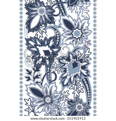 Floral ornament with paisley. Luxury style background with  oriental motifs. Vector illustration - stock vector