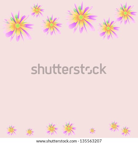 Floral ornament with pastel flowers - stock vector
