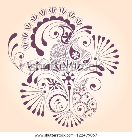 Floral paisley design elements - stock vector