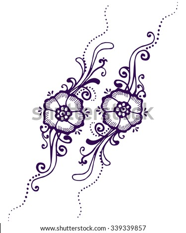 Floral Paisley Henna - stock vector
