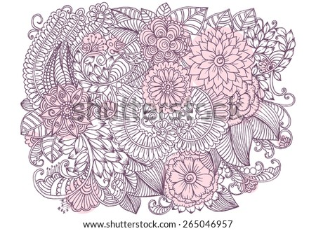 Floral pattern. Bouquet of flowers. Hand drawn illustration. - stock vector