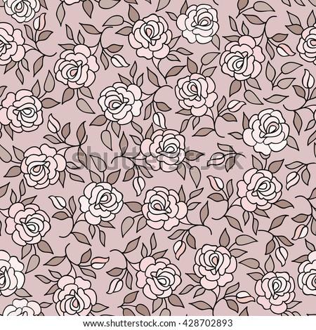 Floral pattern  Flower rose ornamental background Flourish texture with summer flower bouquet. Gentle floral tiled wallpaper - stock vector