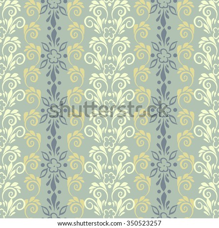 floral pattern in retro wallpaper style. seamless vector background - stock vector