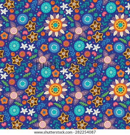 Floral pattern in Scandinavian style. Purple, blue, orange and yellow flowers. Vector illustration - stock vector