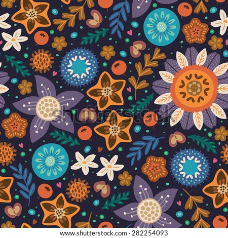 Floral pattern in Scandinavian style. Purple, orange and blue flowers. Vector illustration - stock vector