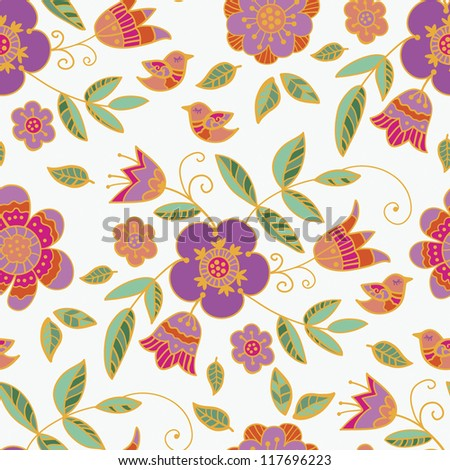 floral pattern on a white background pattern, walpaper - stock vector