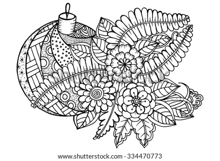 Floral pattern. Vector doodle flowers and christmas ball in black and white - stock vector