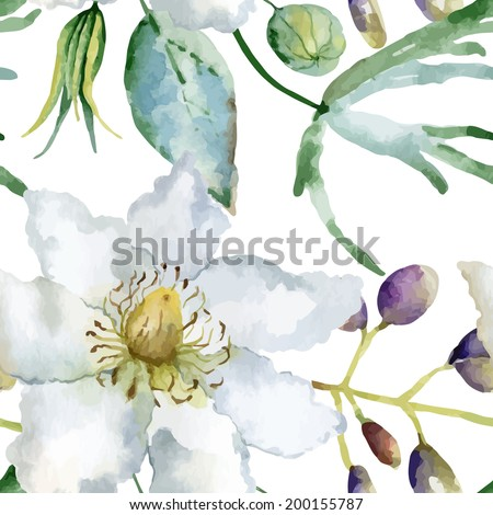 Floral pattern. Vector seamless background. White clematis and lupines  - stock vector