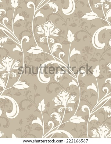 Floral pattern. Wallpaper baroque, damask. Seamless vector beige background. - stock vector