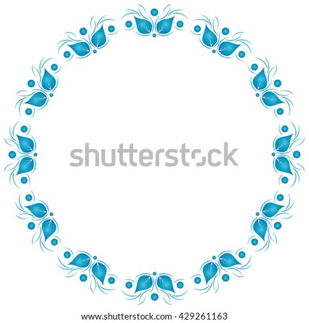 Floral pattern. Wallpaper in blue. Vector background. - stock vector